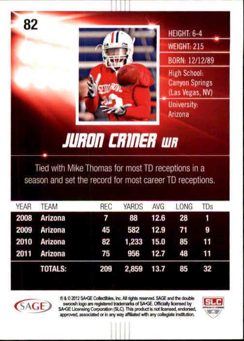 2012 SAGE HIT #82 Juron Criner back image