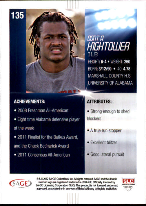 2012 SAGE HIT #135 Dont'a Hightower 12R back image