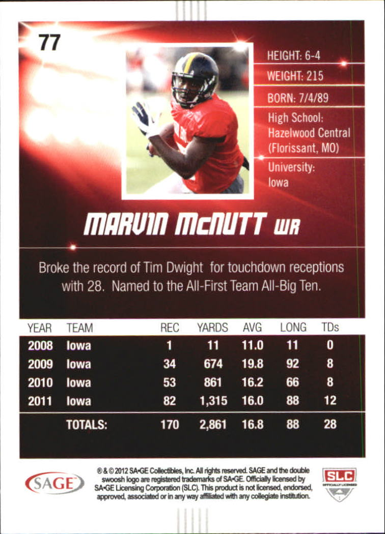 2012 SAGE HIT Silver #77 Marvin McNutt back image