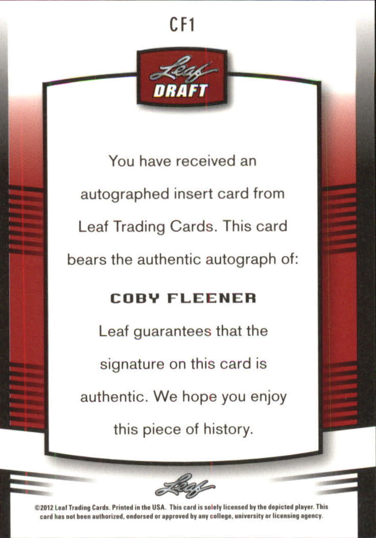 2012 Leaf Metal Draft #CF1 Coby Fleener back image