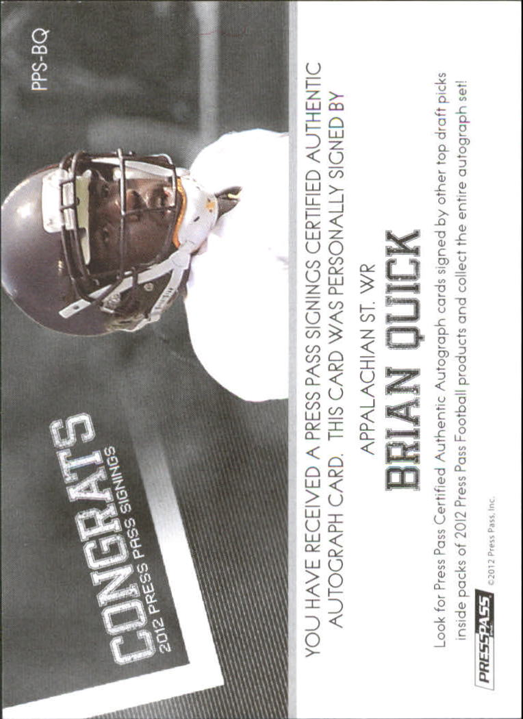 2012 Press Pass Autographs Silver #PPSBQ Brian Quick back image
