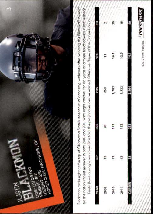 2012 Press Pass #3 Justin Blackmon back image