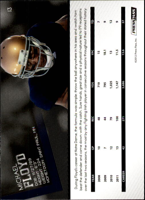 2012 Press Pass #13 Michael Floyd back image