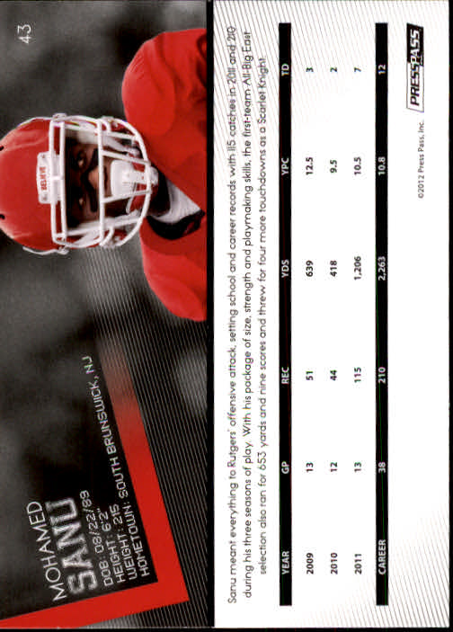 2012 Press Pass #43 Mohamed Sanu back image
