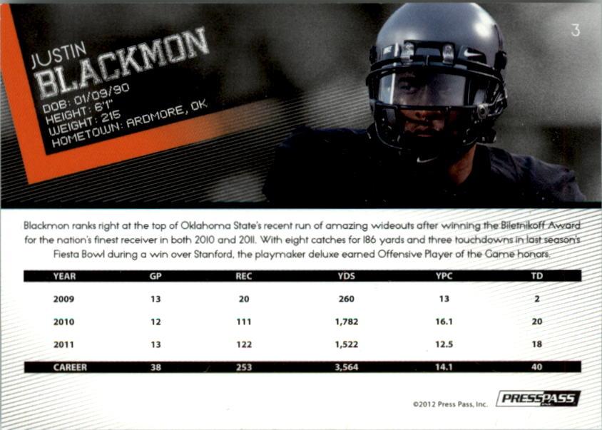 2012 Press Pass Gold #3 Justin Blackmon back image
