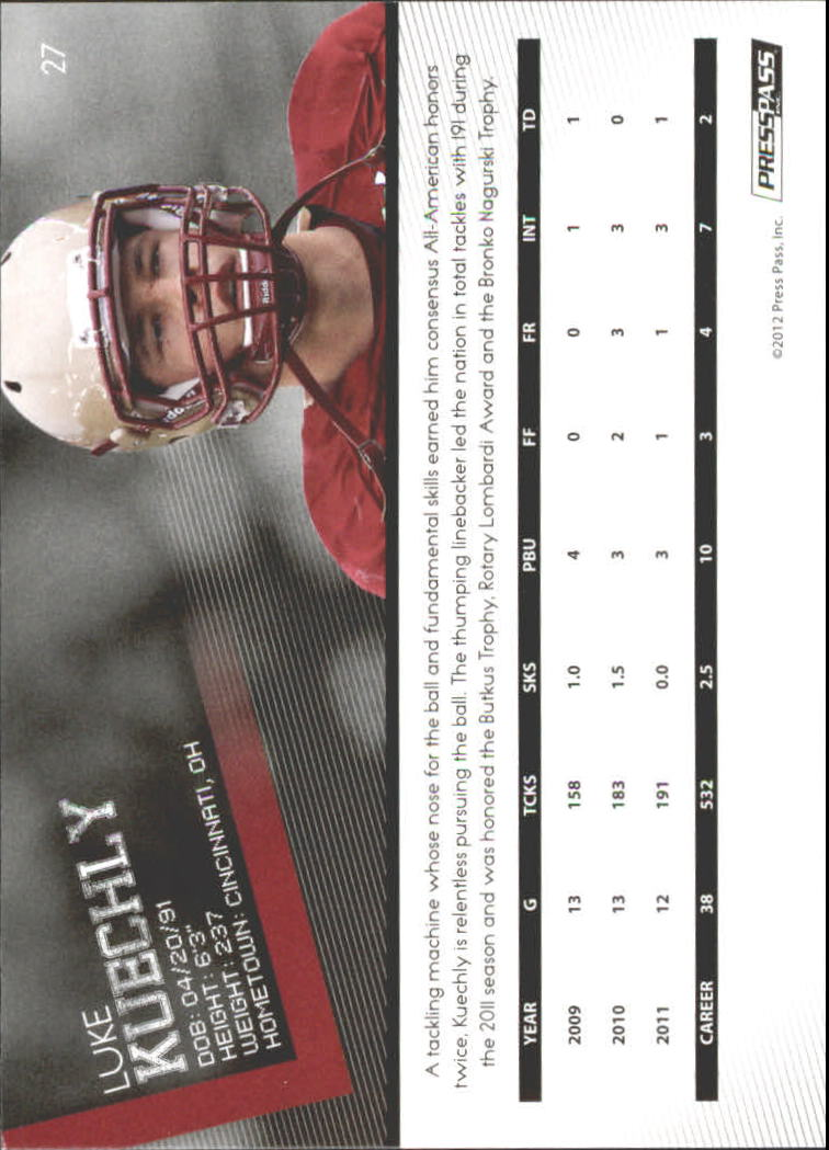 2012 Press Pass Gold #27 Luke Kuechly back image