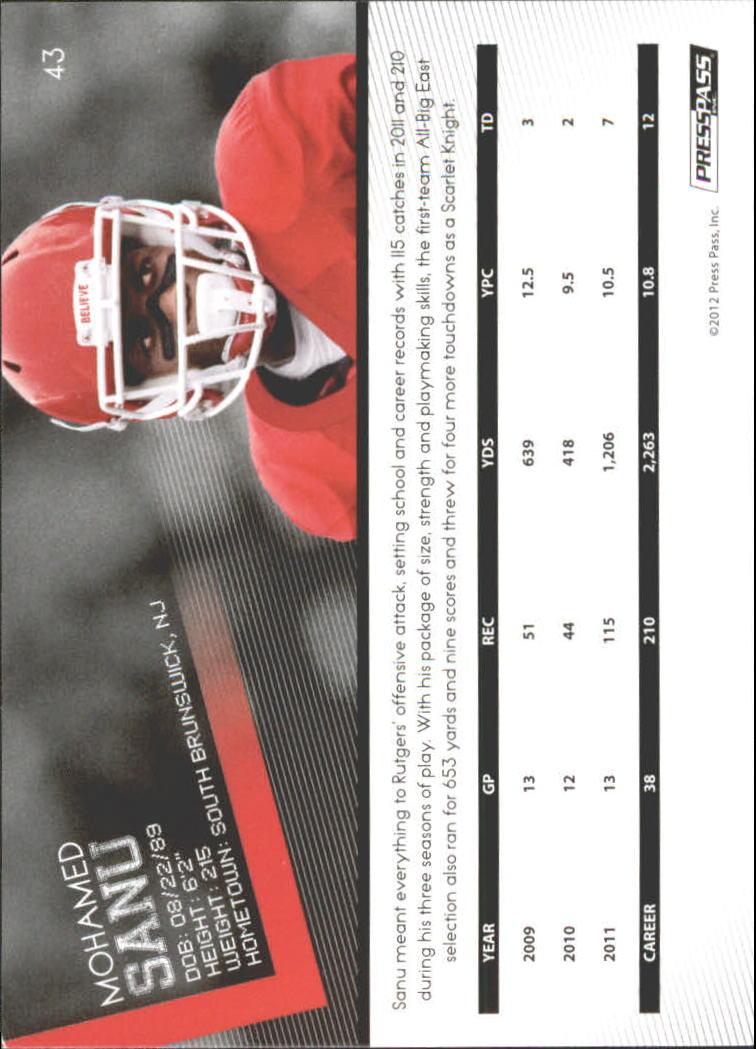 2012 Press Pass Gold #43 Mohamed Sanu back image
