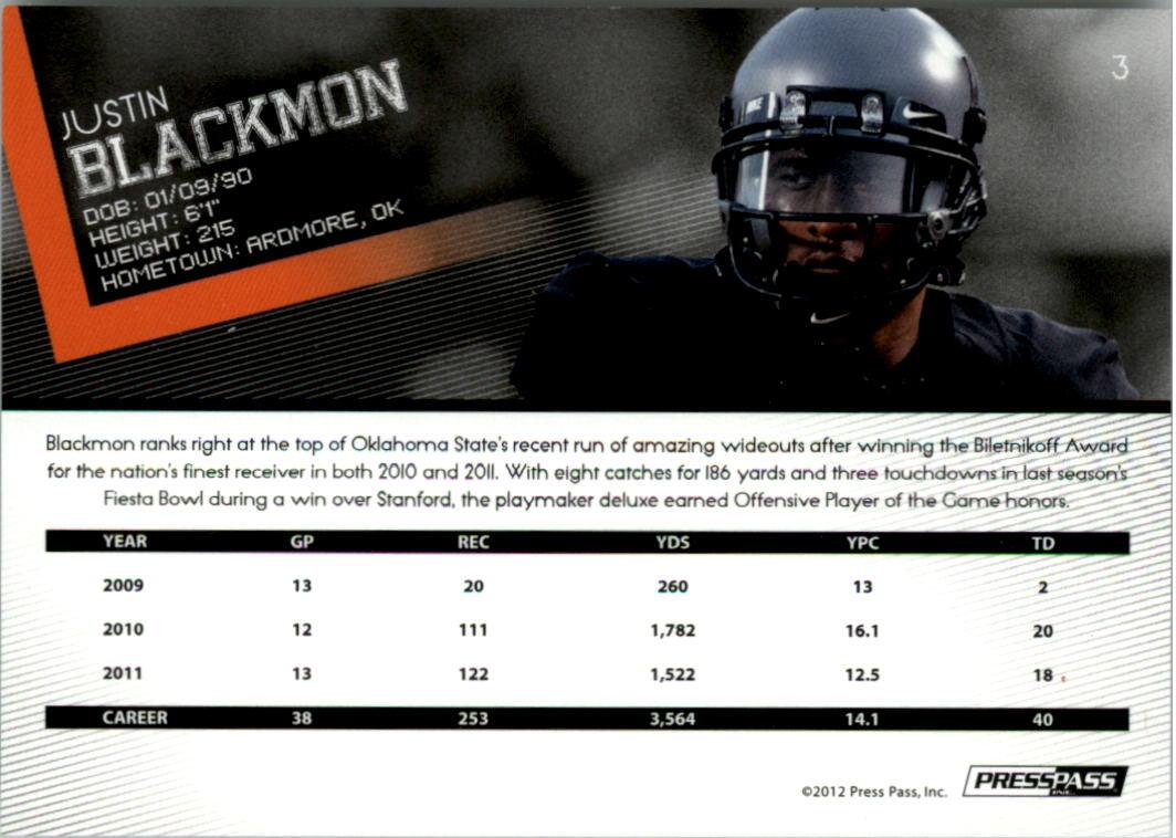 2012 Press Pass Reflectors #3 Justin Blackmon back image