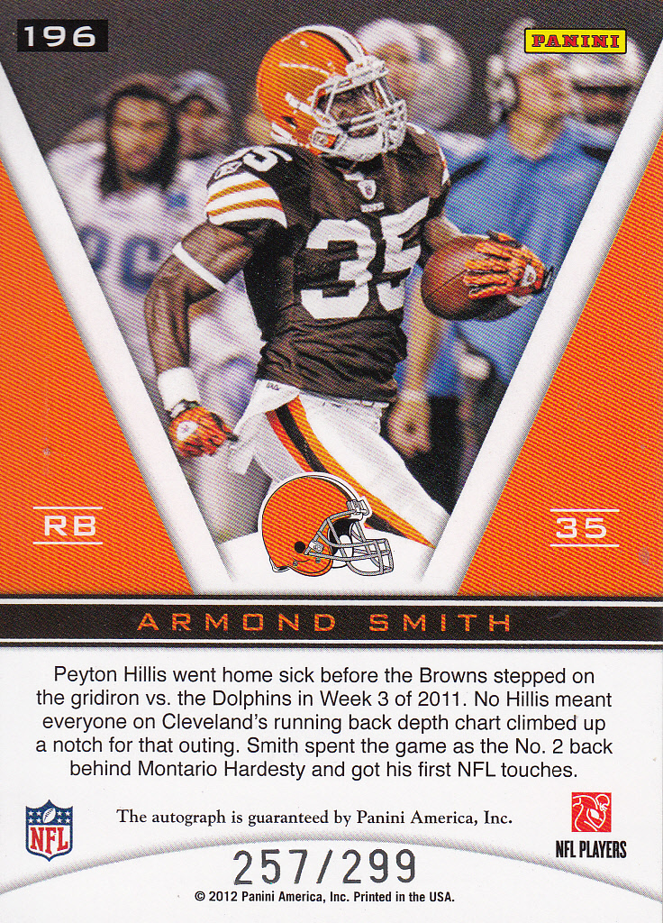 2011 Totally Certified #196 Armond Smith AU/299 RC back image
