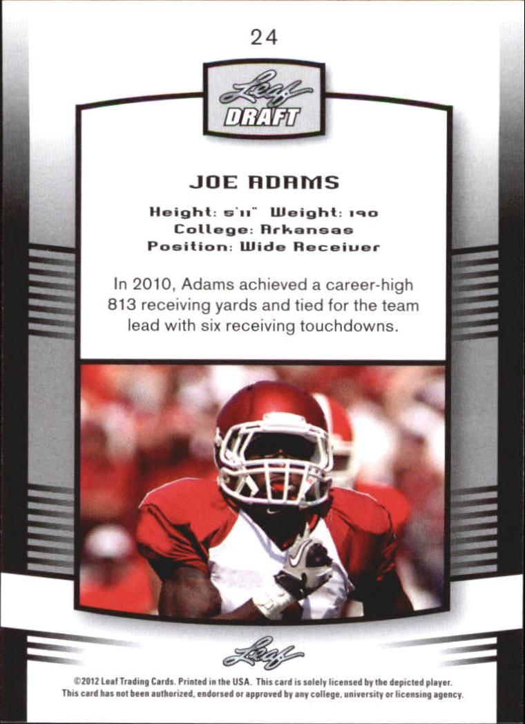 2012 Leaf Draft #24 Joe Adams back image