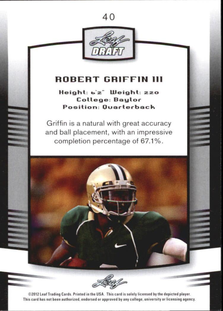 2012 Leaf Draft #40 Robert Griffin III back image