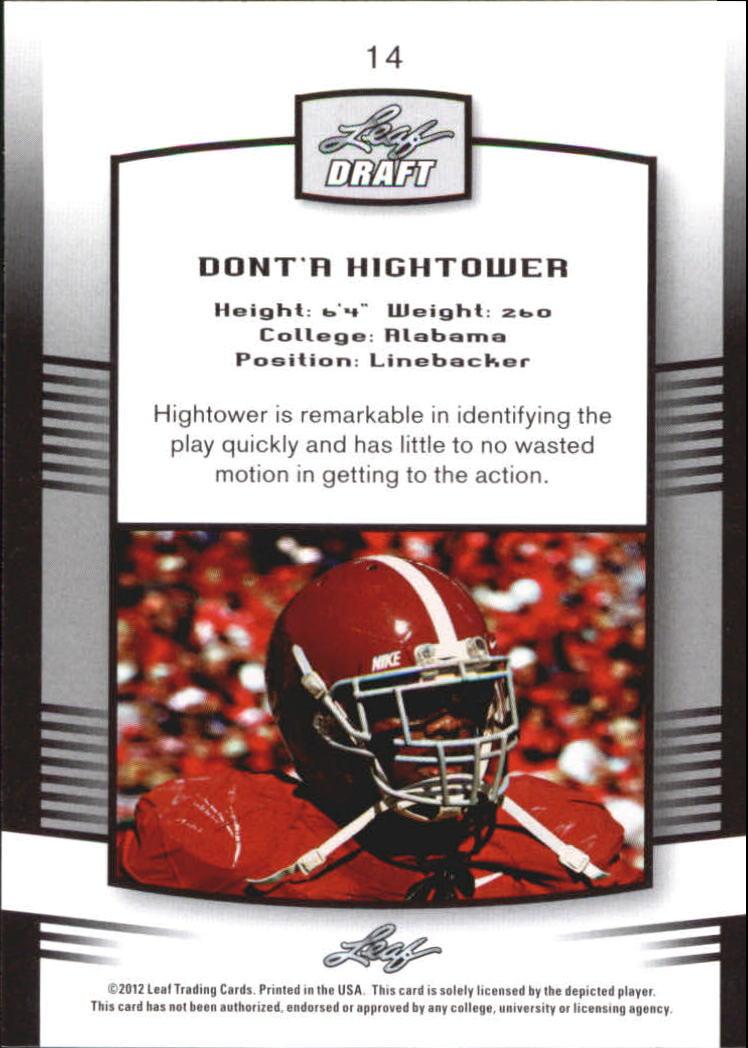 2012 Leaf Draft Blue #14 Dont'a Hightower back image