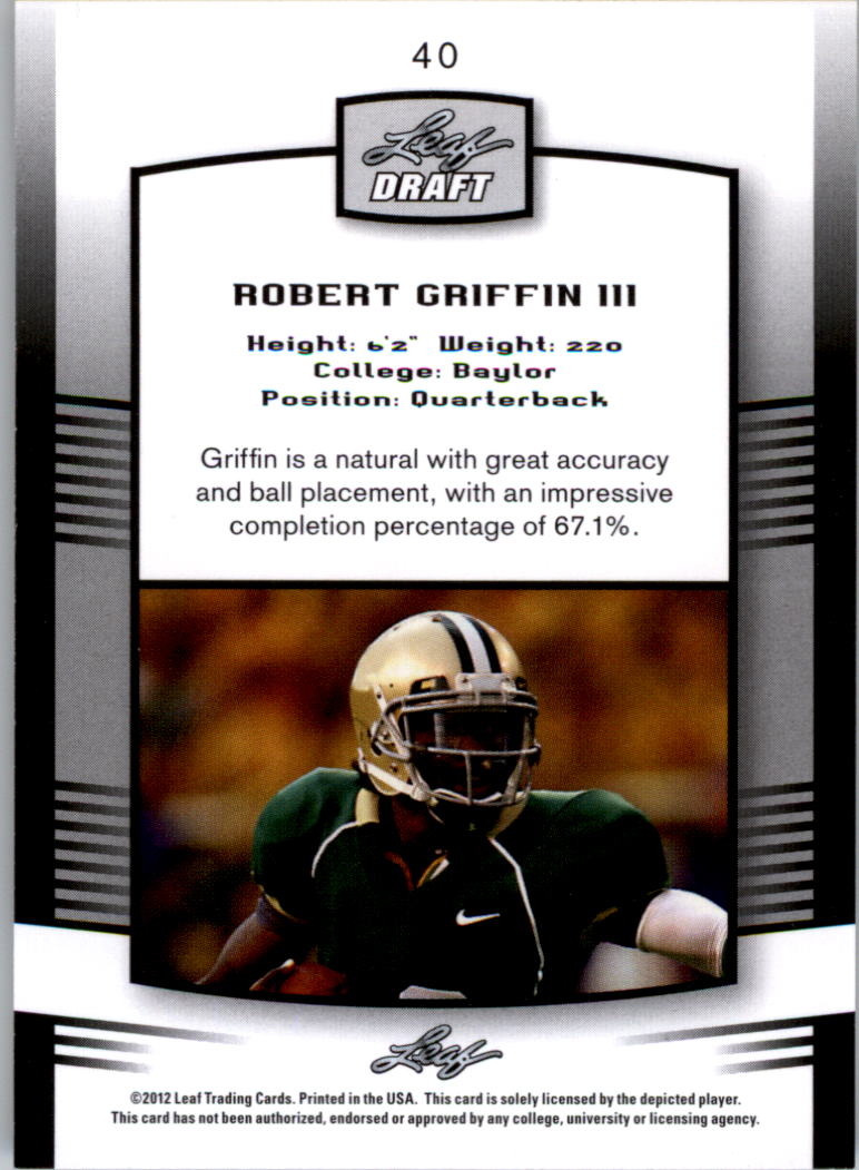 2012 Leaf Draft Blue #40 Robert Griffin III back image