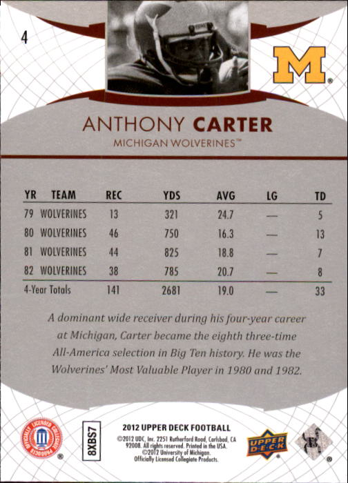2012 Upper Deck #4 Anthony Carter back image