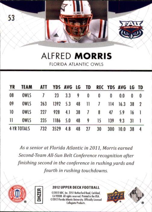 2012 Upper Deck #53 Alfred Morris back image
