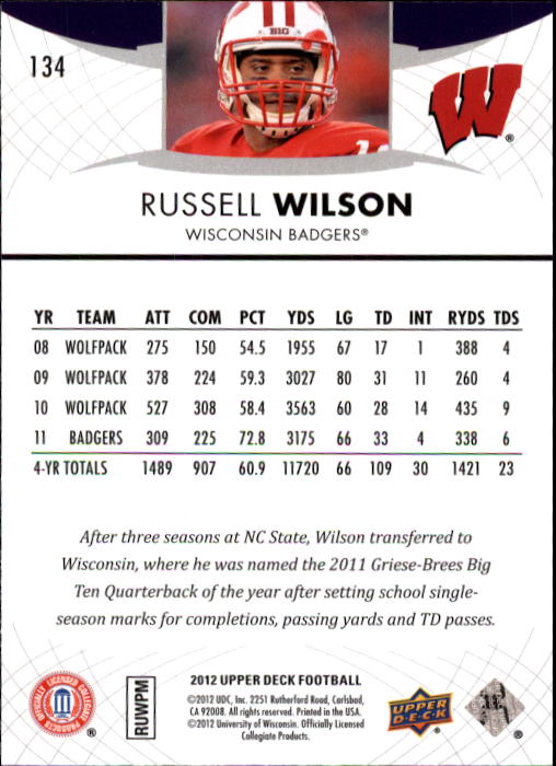 2012 Upper Deck #134 Russell Wilson back image