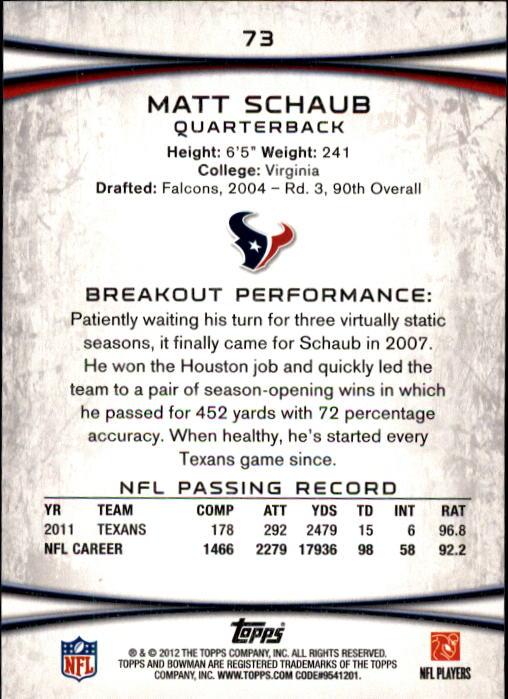 2012 Bowman #73 Matt Schaub back image