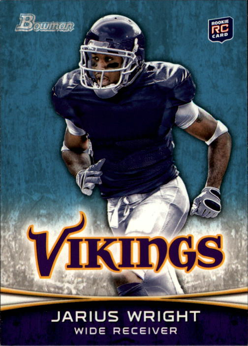 2012 Bowman #109A Jarius Wright RC/running to his right