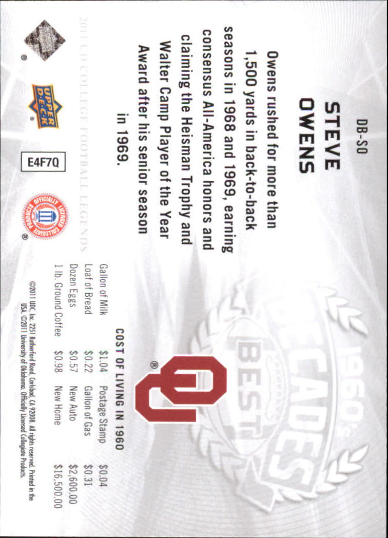 2011 Upper Deck College Legends Decades Best #DBSO Steve Owens back image