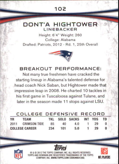 2012 Bowman Gold #102 Dont'a Hightower back image