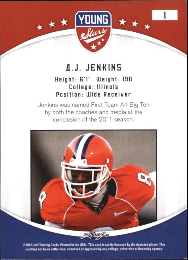 2012 Leaf Young Stars Draft #1 A.J. Jenkins back image