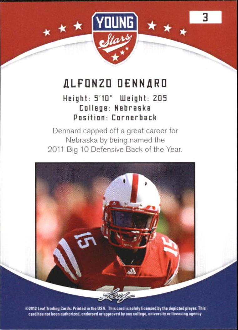 2012 Leaf Young Stars Draft #3 Alfonzo Dennard back image