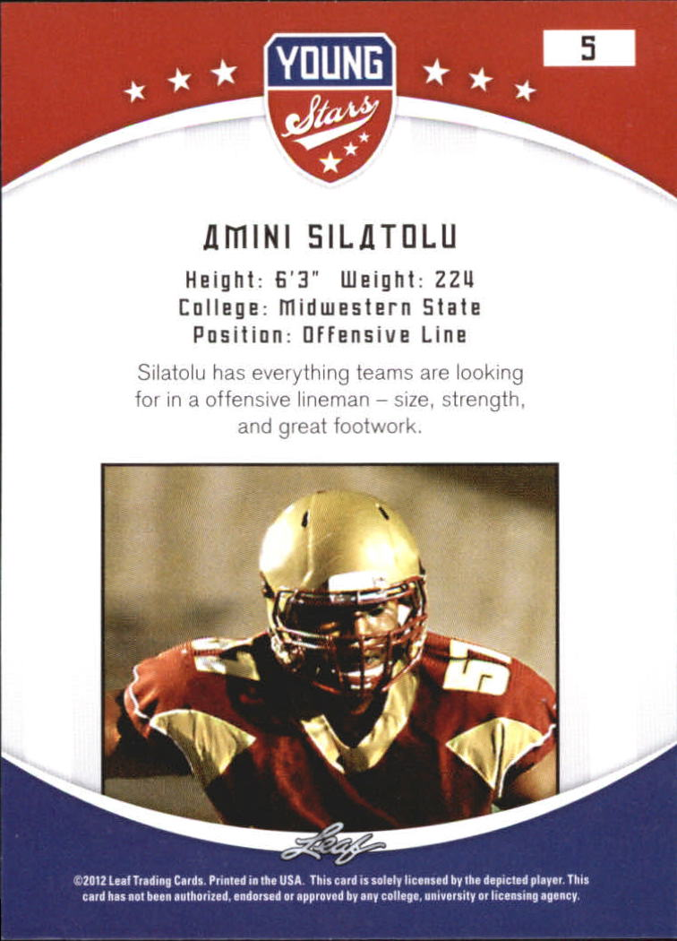 2012 Leaf Young Stars Draft #5 Amini Silatolu back image