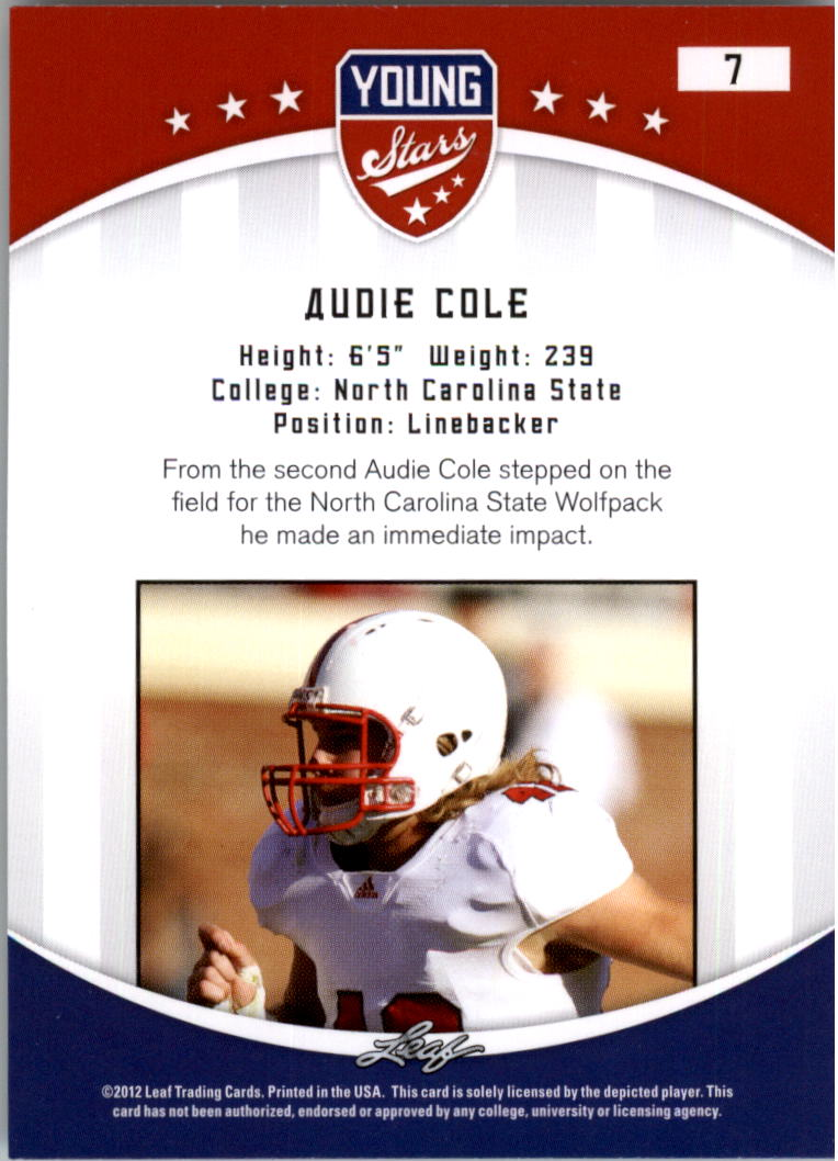 2012 Leaf Young Stars Draft #7 Audie Cole back image