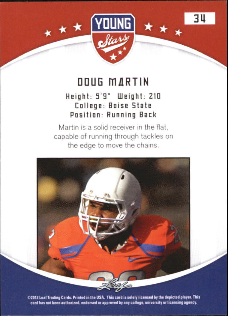 2012 Leaf Young Stars Draft #34 Doug Martin back image