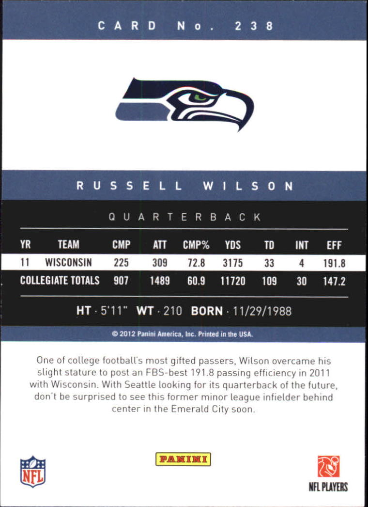2012 Prestige #238 Russell Wilson RC back image