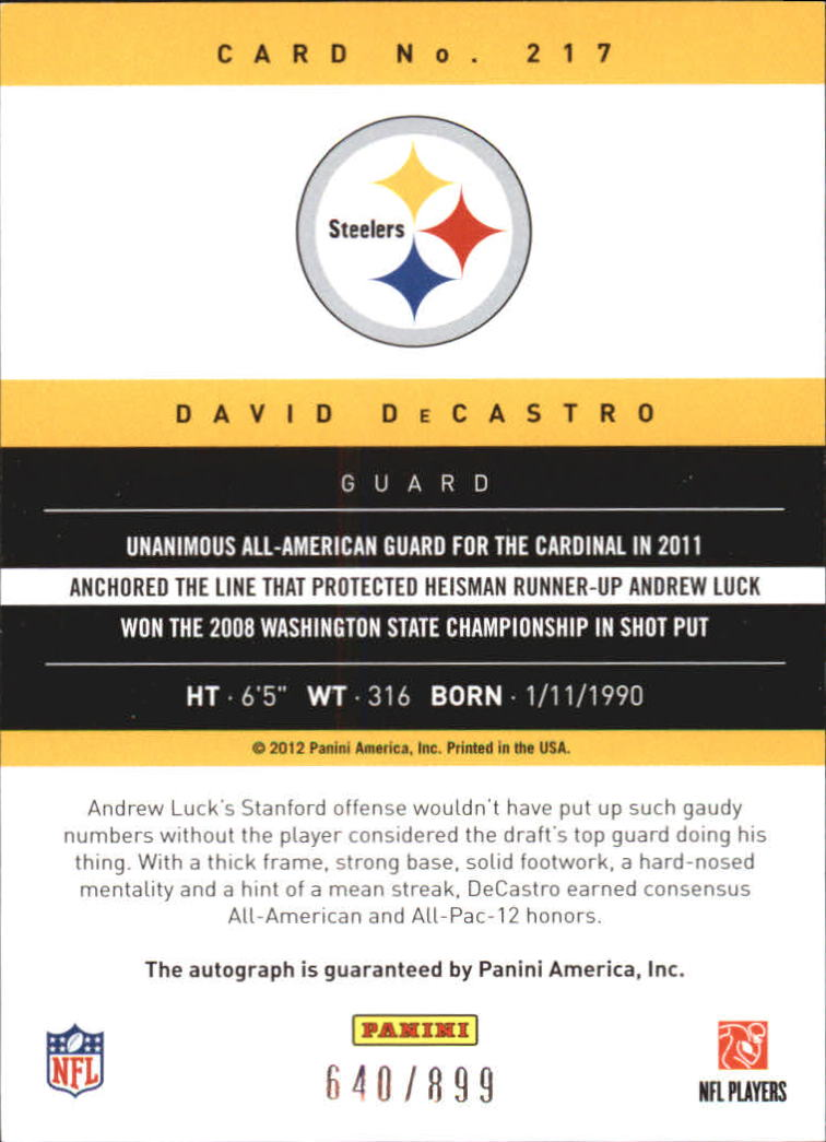 2012 Prestige Rookie Autographs #217 David DeCastro/899 back image