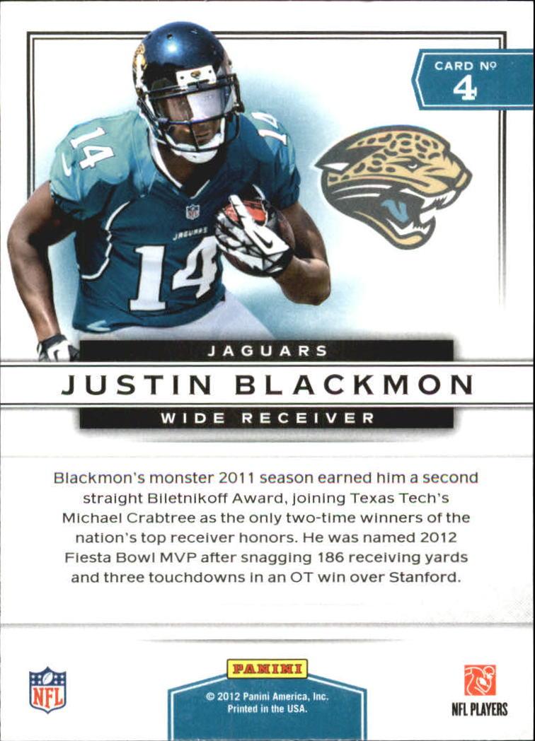 2012 Prestige Prestigious Picks #4 Justin Blackmon back image