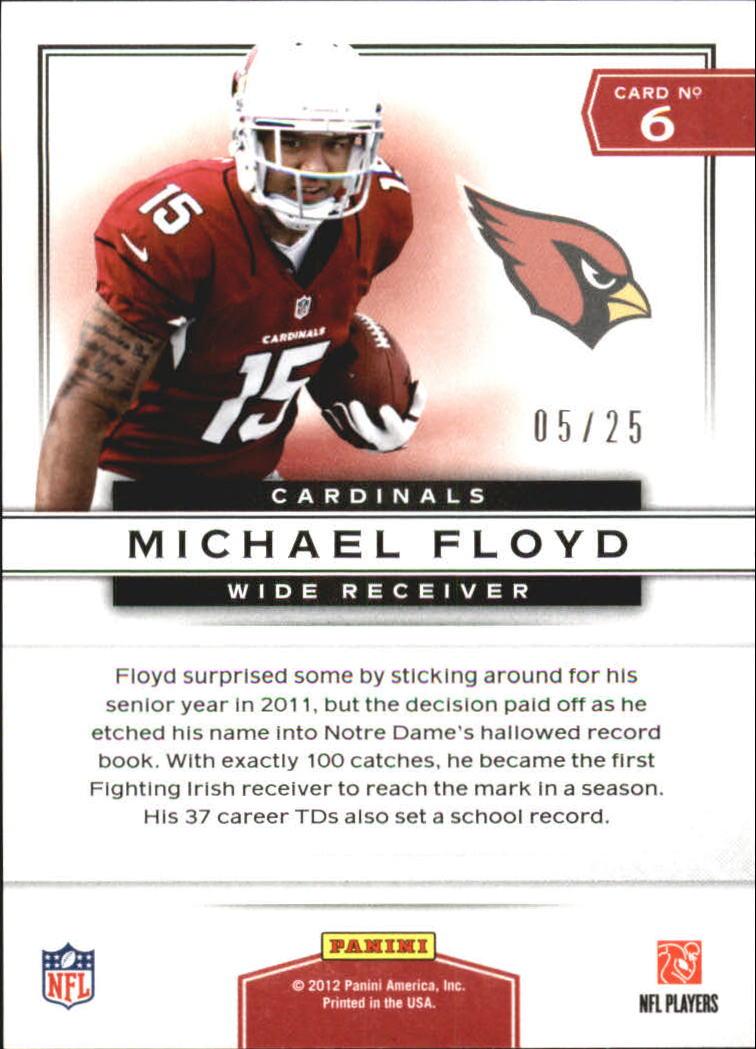 2012 Prestige Prestigious Picks #6 Michael Floyd back image