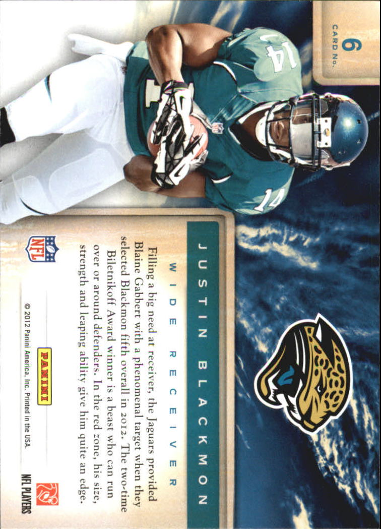 2012 Prestige Draft City Destination #6 Justin Blackmon back image