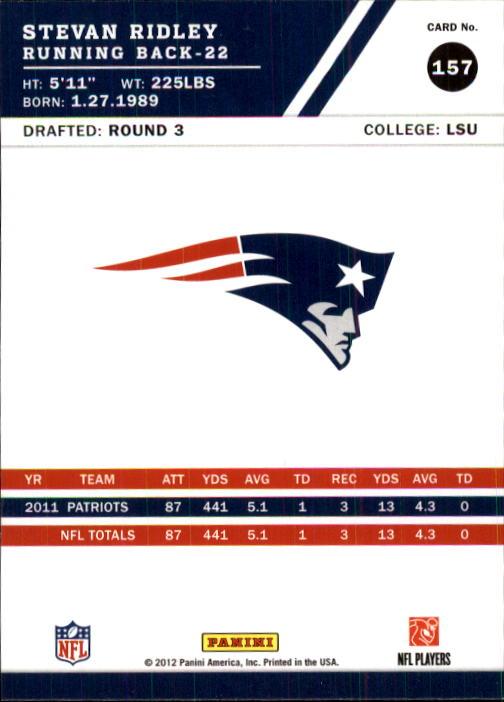 2012 Score #157 Stevan Ridley back image