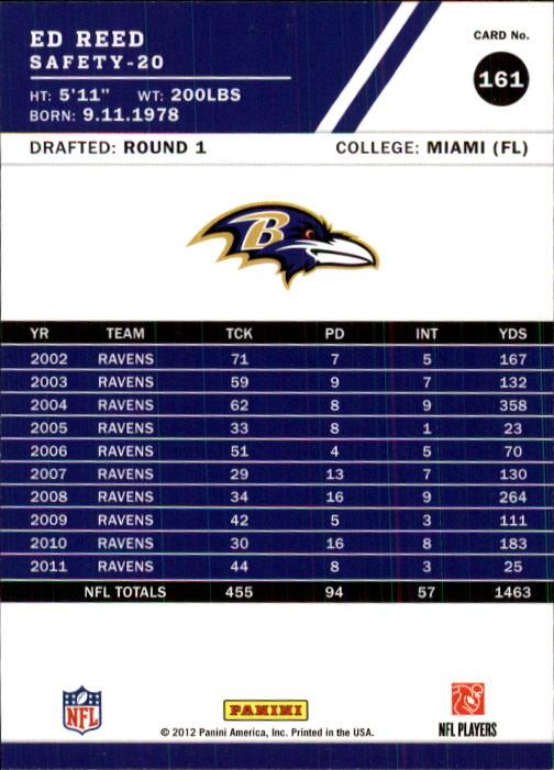 2012 Score #161 Ed Reed back image