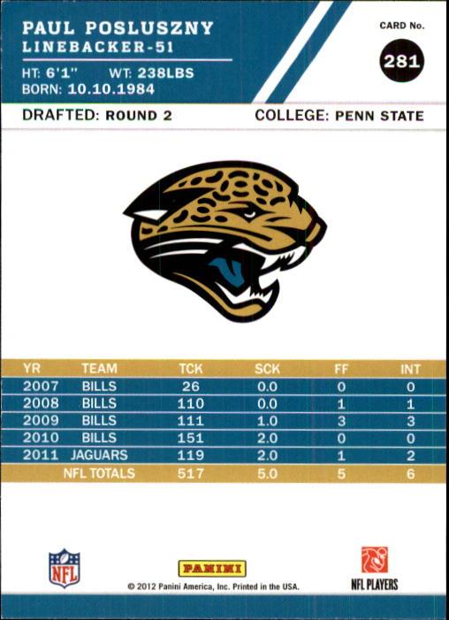 2012 Score #281 Paul Posluszny back image