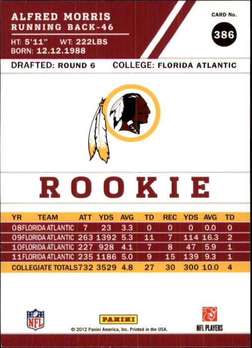 2012 Score #386 Alfred Morris RC back image
