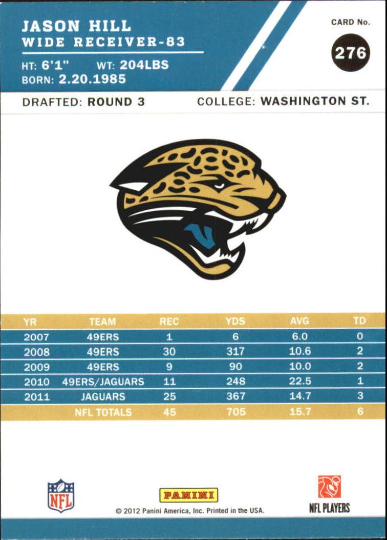 2012 Score Glossy #276 Jason Hill back image