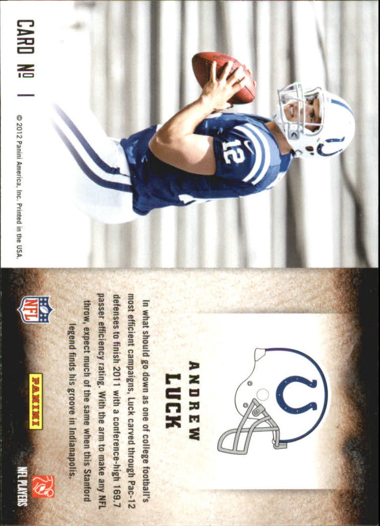 2012 Score Hot Rookies #1 Andrew Luck back image