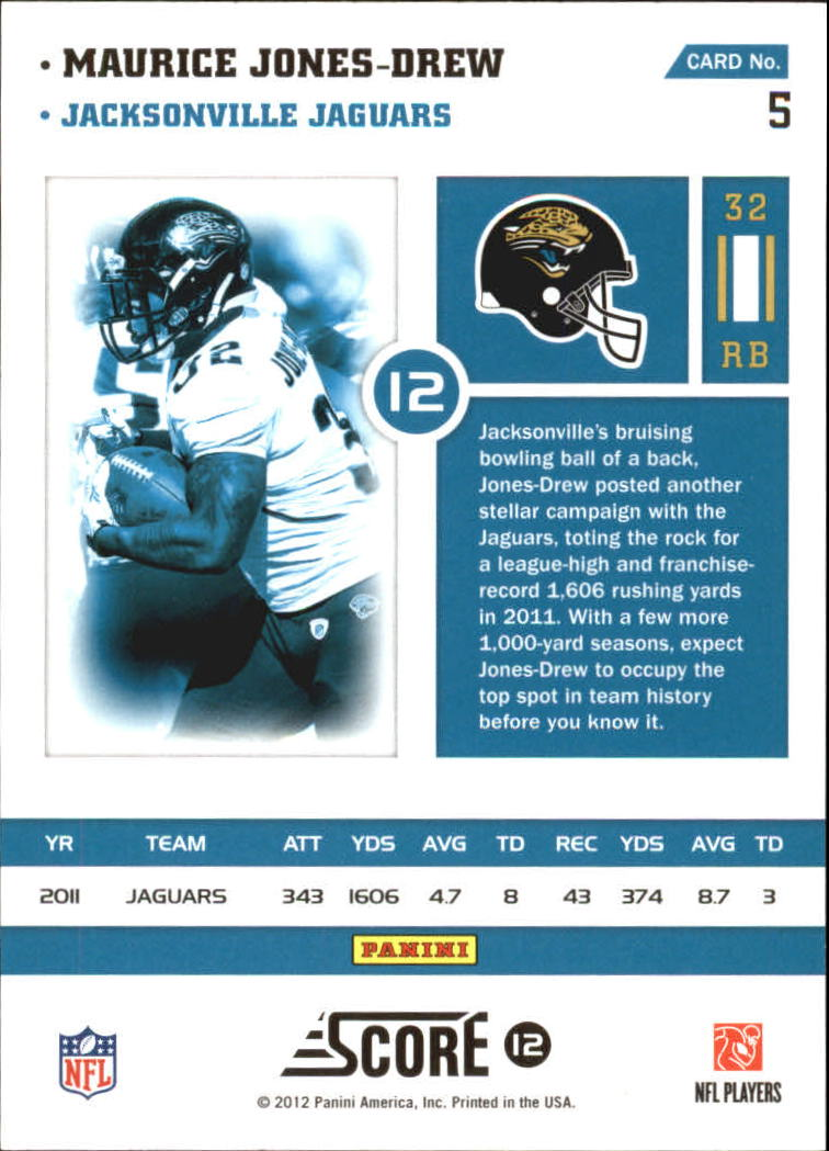 2012 Score Numbers Game #5 Maurice Jones-Drew back image