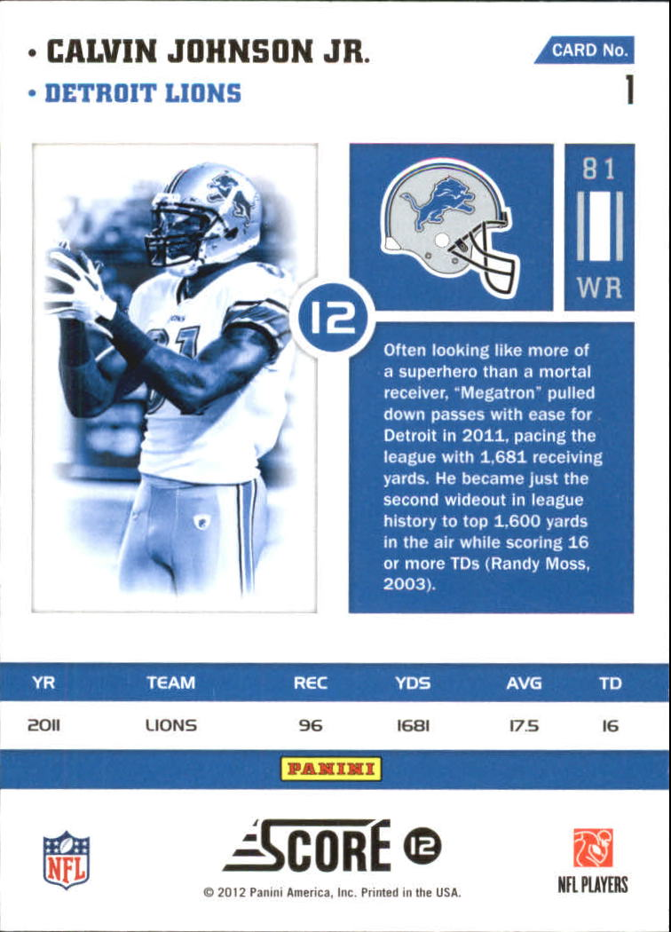 2012 Score Numbers Game Glossy #1 Calvin Johnson back image