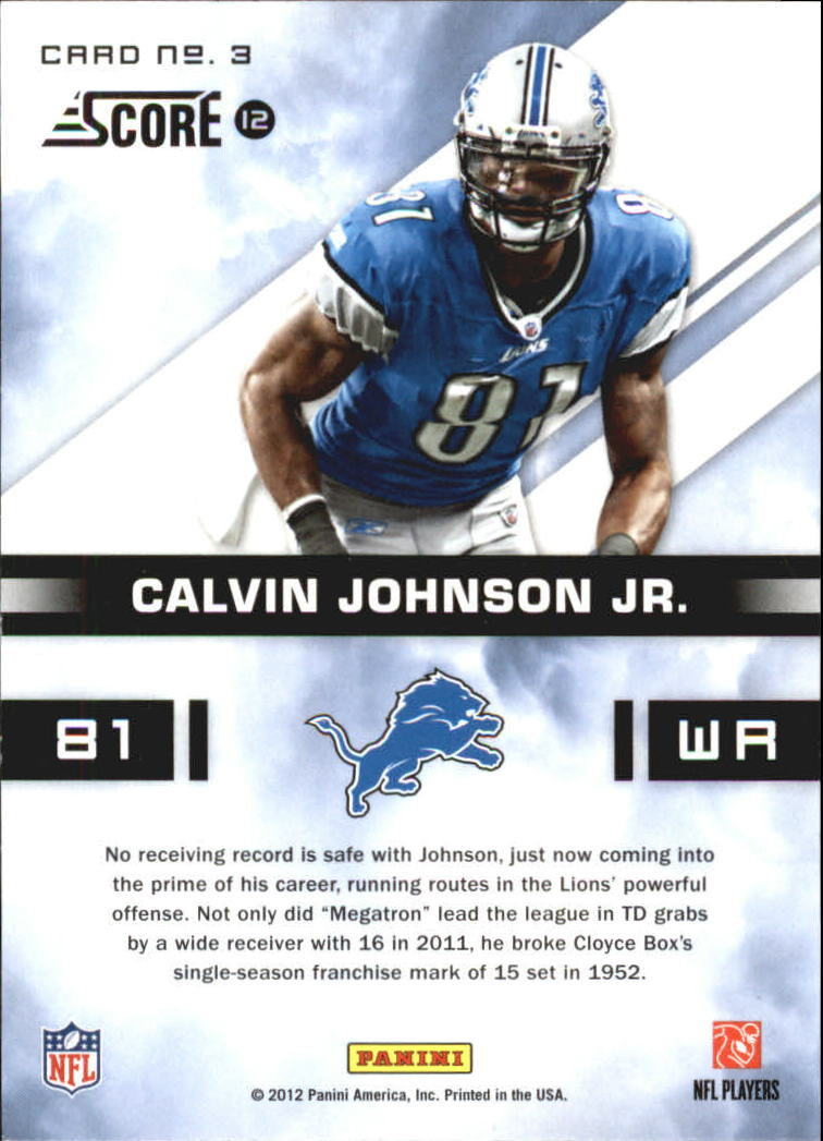 2012 Score In the Zone Glossy #3 Calvin Johnson back image