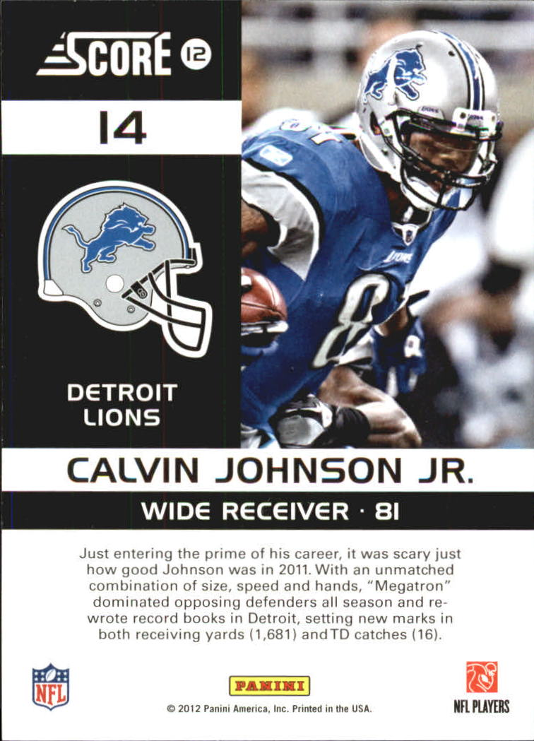 2012 Score Complete Players #14 Calvin Johnson back image