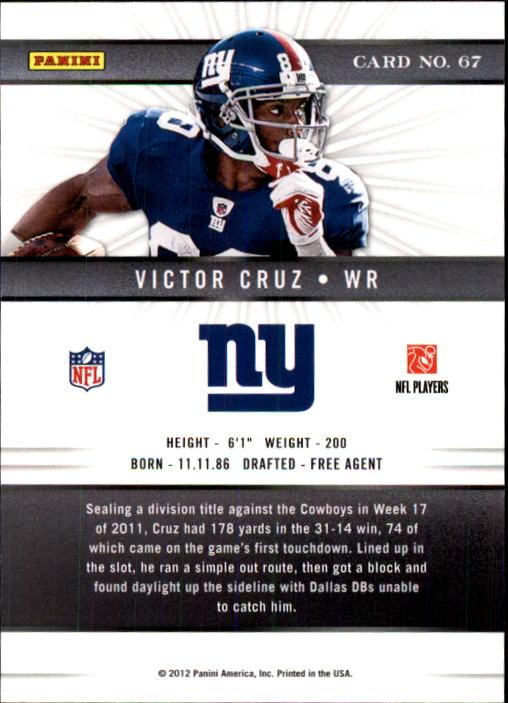 2012 Elite #67 Victor Cruz back image