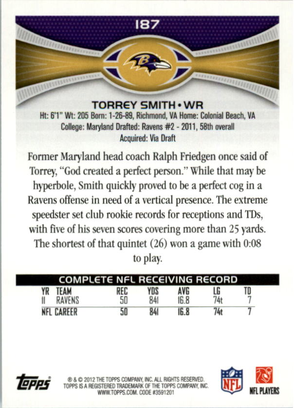 2012 Topps #187 Torrey Smith back image