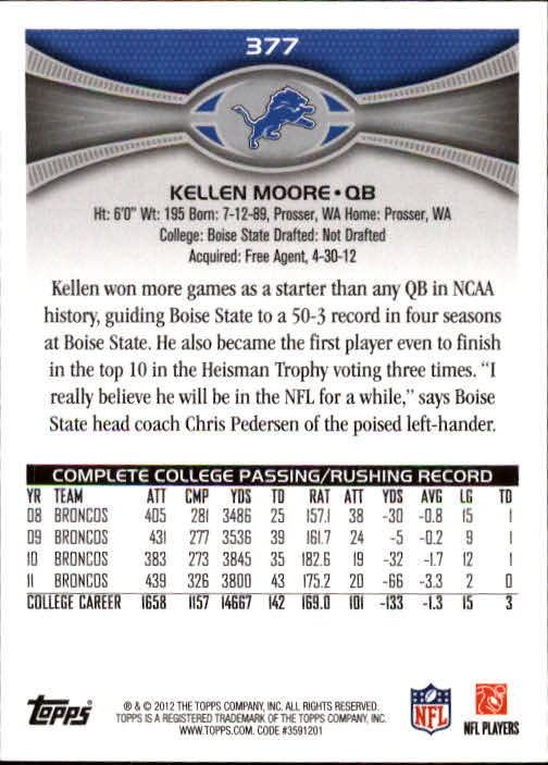 2012 Topps #377 Kellen Moore RC back image