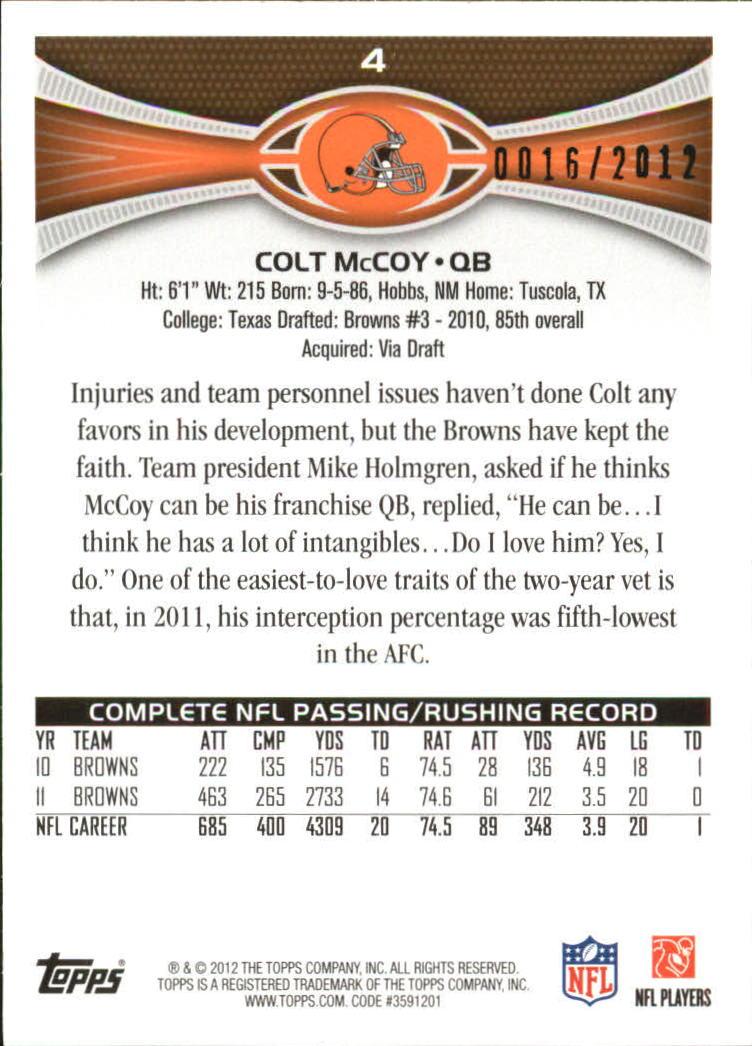 2012 Topps Gold #4 Colt McCoy back image