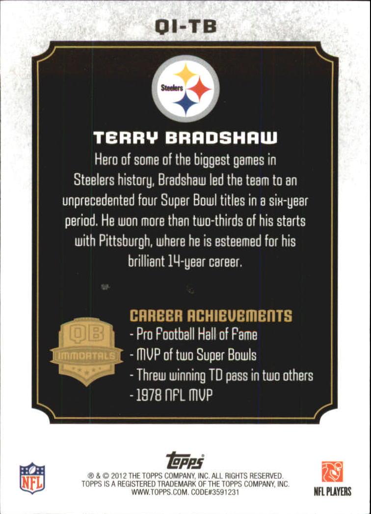 2012 Topps QB Immortals #QITB Terry Bradshaw back image