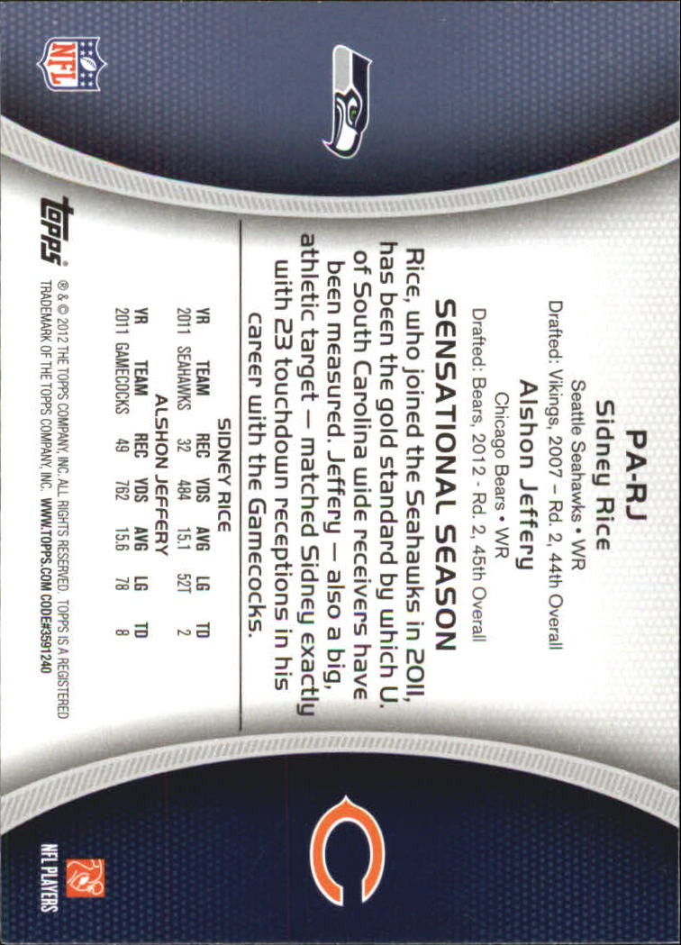 2012 Topps Paramount Pairs #PARJ Sidney Rice/Alshon Jeffery back image